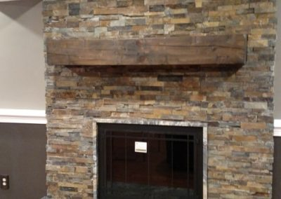 Fireplace - Stacked Stone and Timber - 1 of 2